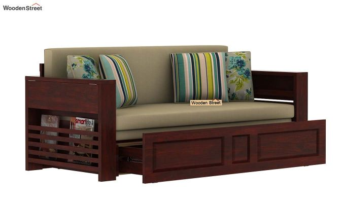 Feltro Bed Cum Sofa (King Size, Mahogany Finish)-6