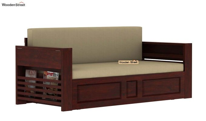 Feltro Bed Cum Sofa (King Size, Mahogany Finish)-9