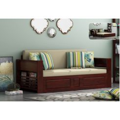 Feltro Bed Cum Sofa (King Size, Mahogany Finish)