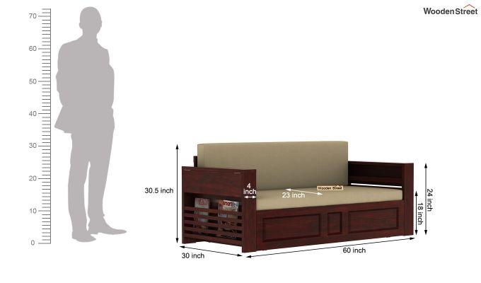 Feltro Bed Cum Sofa (Queen Size, Mahogany Finish)-14