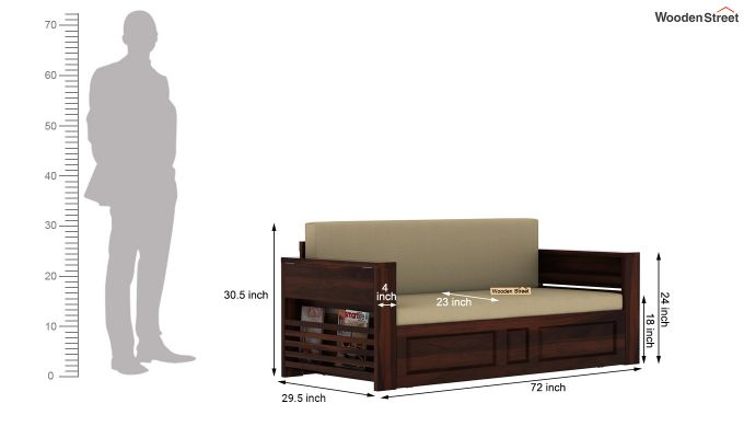 Feltro Bed Cum Sofa (King Size, Walnut Finish)-14