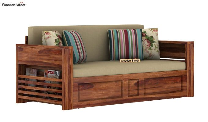 Feltro Bed Cum Sofa (King Size, Teak Finish)-3