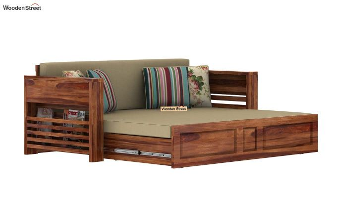 Feltro Bed Cum Sofa (Queen Size, Teak Finish)-12