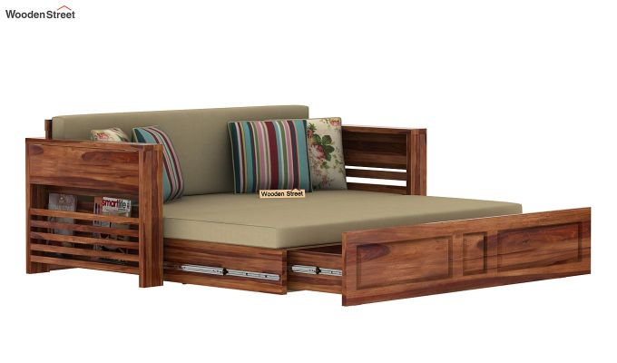 Feltro Bed Cum Sofa (King Size, Teak Finish)-13
