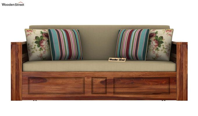 Feltro Bed Cum Sofa (Queen Size, Teak Finish)-4