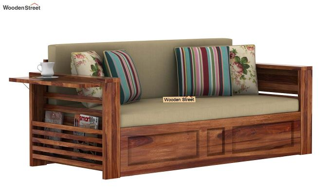 Feltro Bed Cum Sofa (Queen Size, Teak Finish)-5