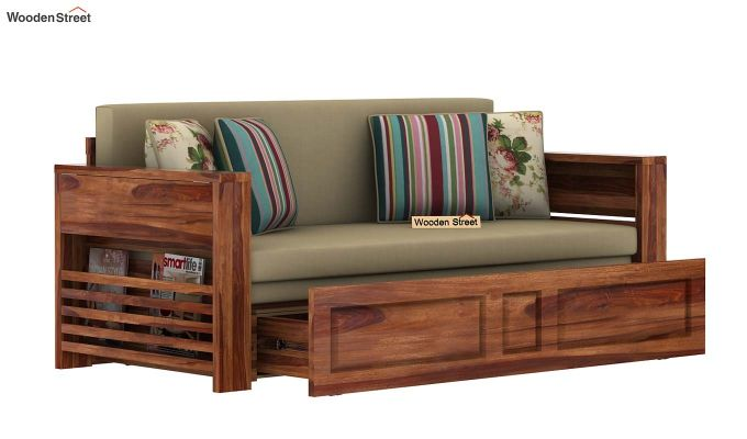 Feltro Bed Cum Sofa (Queen Size, Teak Finish)-6
