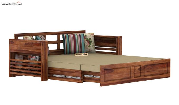 Feltro Bed Cum Sofa (Queen Size, Teak Finish)-7
