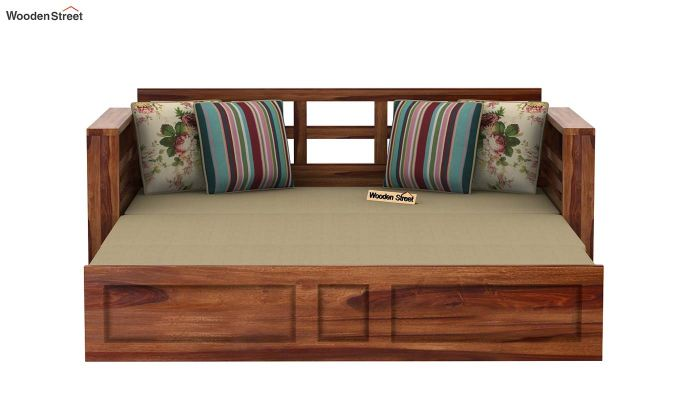Feltro Bed Cum Sofa (Queen Size, Teak Finish)-8