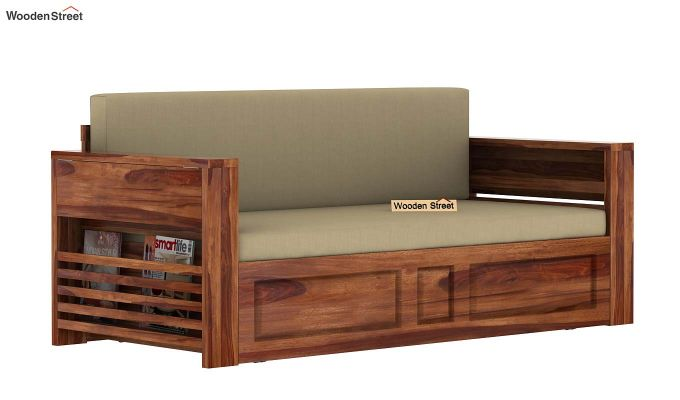 Feltro Bed Cum Sofa (King Size, Teak Finish)-9
