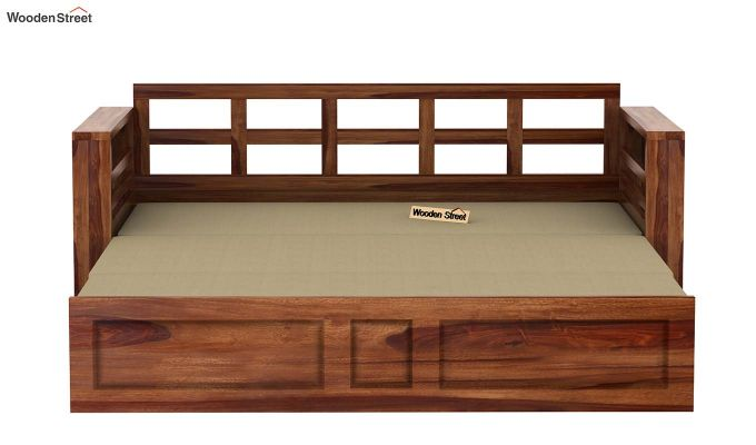 Feltro Bed Cum Sofa (Queen Size, Teak Finish)-11