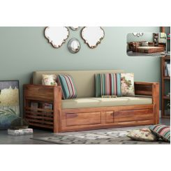 Feltro Bed Cum Sofa (King Size, Teak Finish)