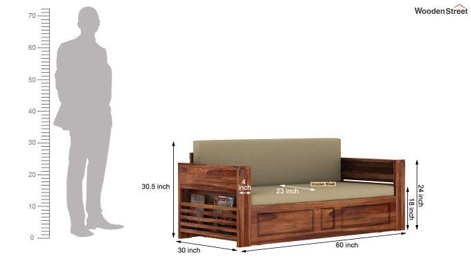 Feltro Bed Cum Sofa (Queen Size, Teak Finish)-14