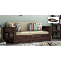 Feltro Bed Cum Sofa (King Size, Walnut Finish)