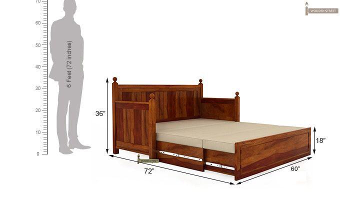 Gerrick Sofa Cum Bed (Queen Size, Honey Finish)-8