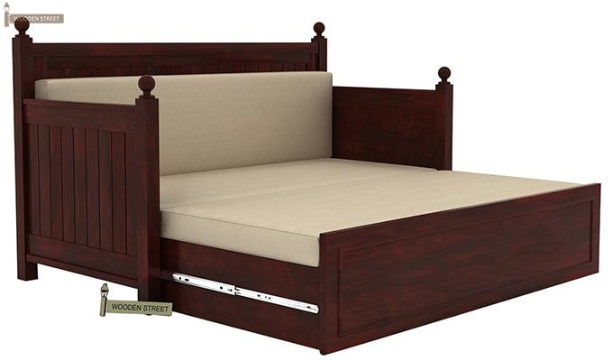 Gerrick Sofa Cum Bed (Queen Size, Mahogany Finish)-4