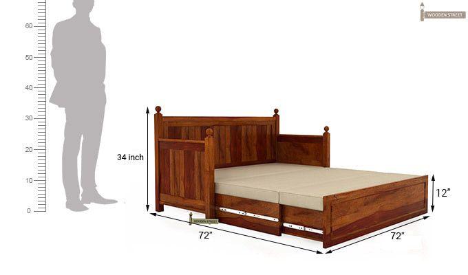 Gerrick Sofa Cum Bed (King Size, Honey Finish)-8