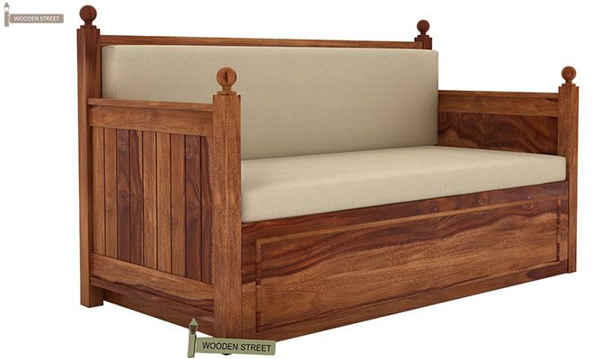 Gerrick Sofa Cum Bed (Queen Size, Teak Finish)-2