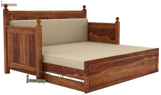 Gerrick Sofa Cum Bed (Queen Size, Teak Finish)-7