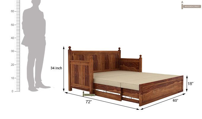 Gerrick Sofa Cum Bed (Queen Size, Teak Finish)-9