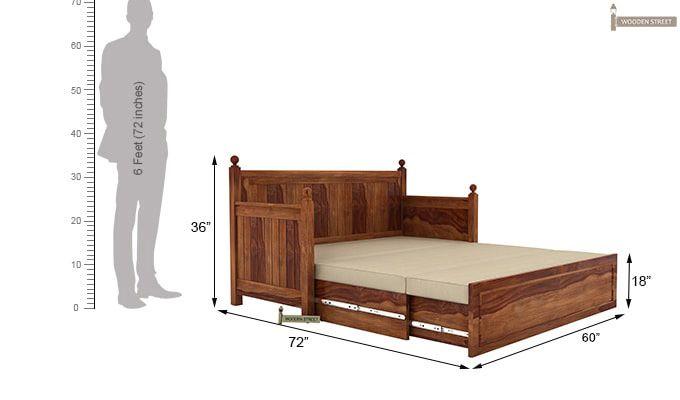 Gerrick Sofa Cum Bed (Queen Size, Teak Finish)-9