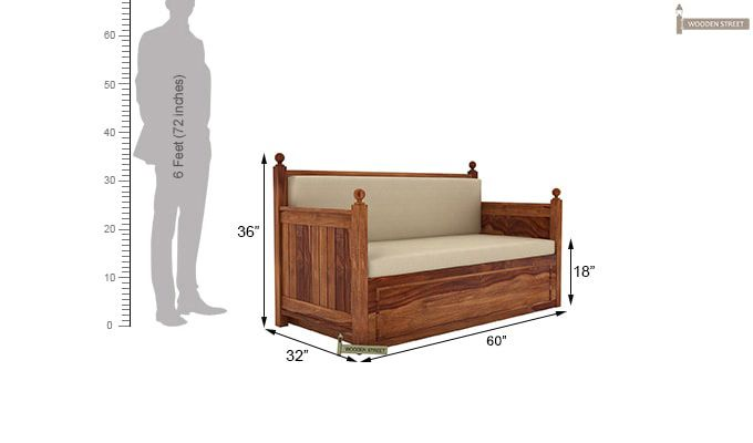Gerrick Sofa Cum Bed (Queen Size, Teak Finish)-8
