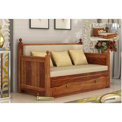 Gerrick Sofa Cum Bed (Queen Size, Teak Finish)