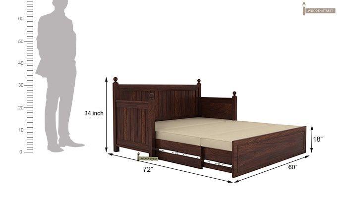 Gerrick Sofa Cum Bed (Queen Size, Walnut Finish)-8