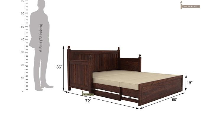Gerrick Sofa Cum Bed (Queen Size, Walnut Finish)-8