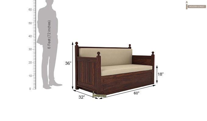 Gerrick Sofa Cum Bed (Queen Size, Walnut Finish)-7