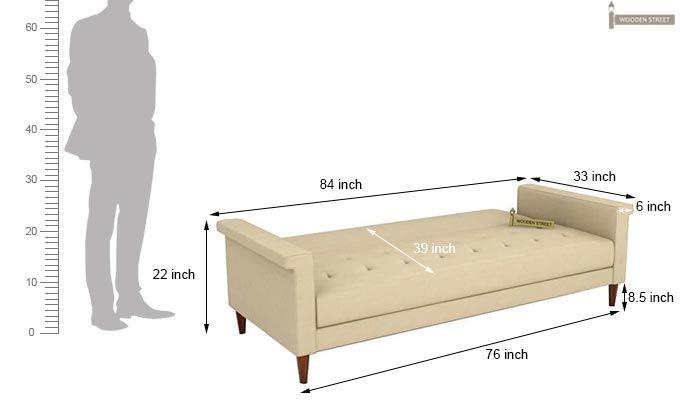 Hover Fabric Sofa Cum Bed (Ivory)-10