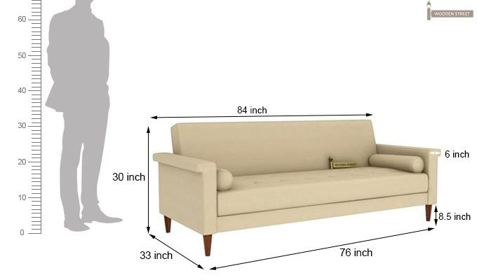 Hover Fabric Sofa Cum Bed (Ivory)-9