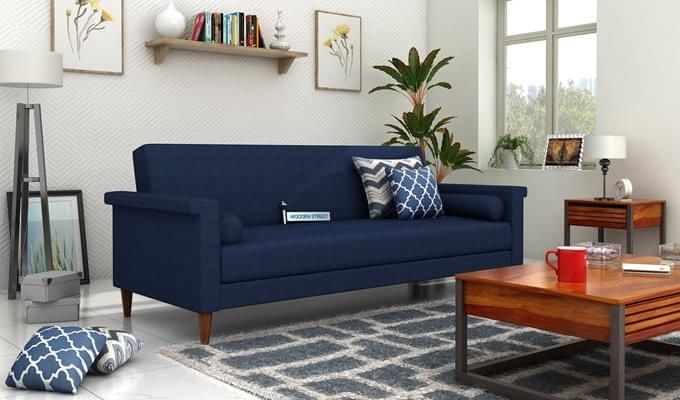 Hover Fabric Sofa Cum Bed (Blue)-1