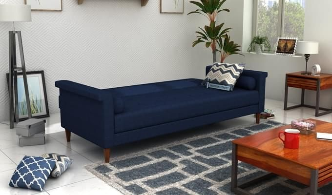 Hover Fabric Sofa Cum Bed (Blue)-2