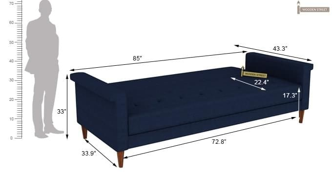 Hover Fabric Sofa Cum Bed (Blue)-13