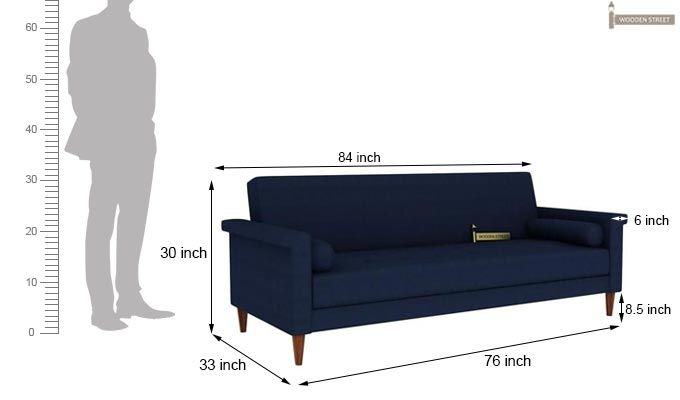 Hover Fabric Sofa Cum Bed (Blue)-12