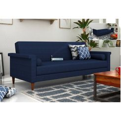 Hover Fabric Sofa Cum Bed (Blue)