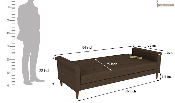 Hover Fabric Sofa Cum Bed (Brown)-11