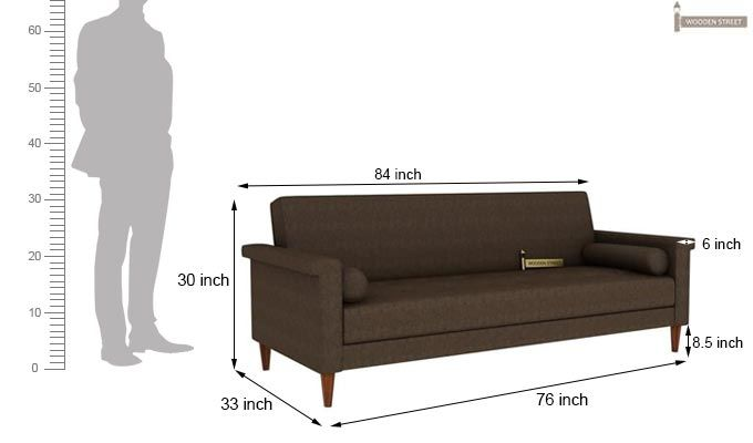 Hover Fabric Sofa Cum Bed (Brown)-10