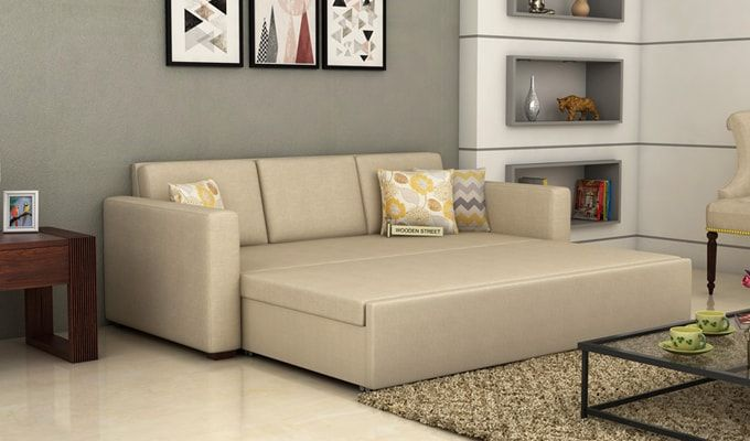 Claridge Fabric Sofa Cum Bed (Ivory)-2