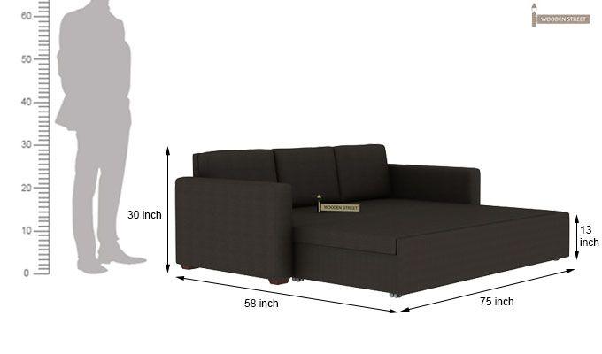 Claridge Fabric Sofa Cum Bed (Steel Grey)-10