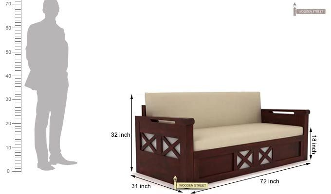 Medway Convertible Couch (King Size, Mahogany Finish)-8