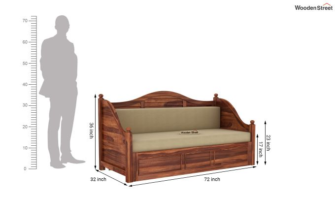 Noah Couch Cum Cot (King Size, Honey Finish)-10