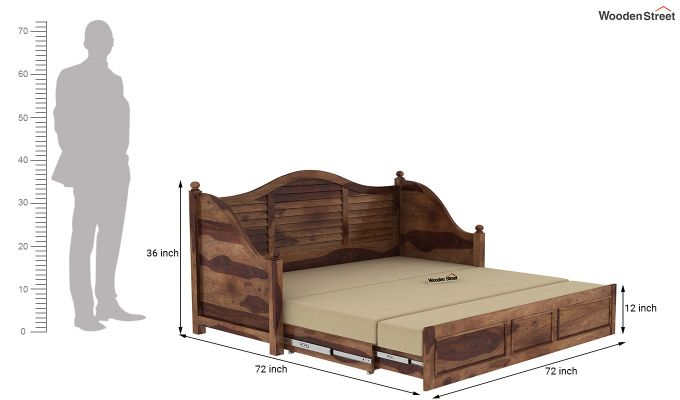 Noah Couch Cum Cot (King Size, Teak Finish)-10