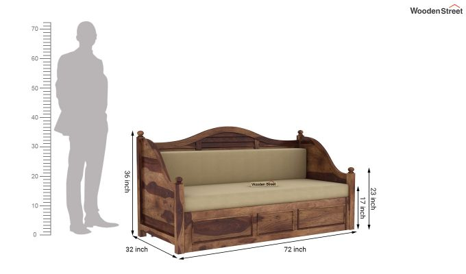 Noah Couch Cum Cot (King Size, Teak Finish)-11