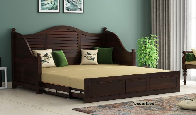 Noah Couch Cum Cot (King Size, Walnut Finish)-2
