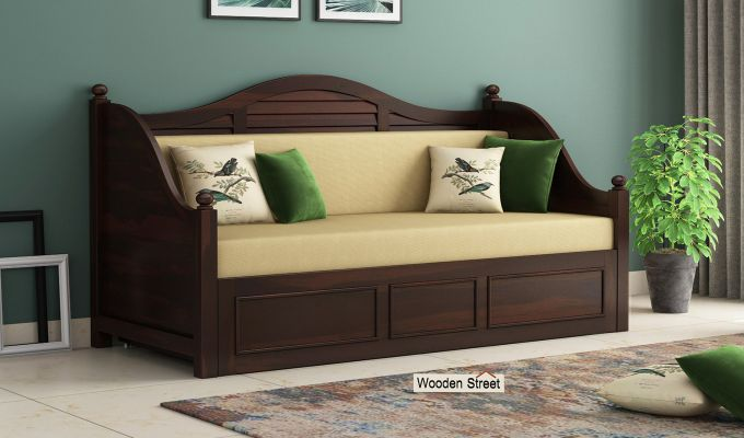 Noah Couch Cum Cot (King Size, Walnut Finish)-1