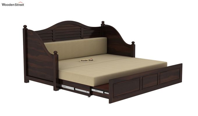 Noah Couch Cum Cot (King Size, Walnut Finish)-6