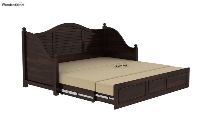 Noah Couch Cum Cot (King Size, Walnut Finish)-8