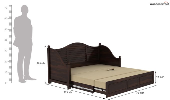 Noah Couch Cum Cot (King Size, Walnut Finish)-11